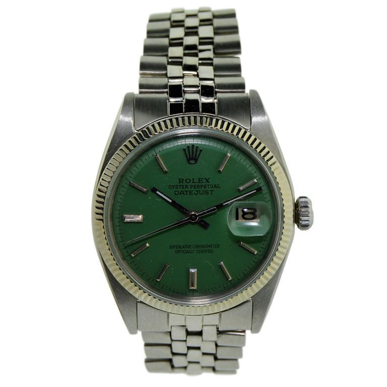 Rolex White Gold Stainless Steel Bezel Datejust Wristwatch, circa 1970s