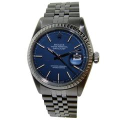 Rolex Stainless Steel Blue Dial Datejust Wristwatch, 1970s