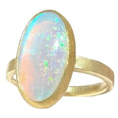 Petra Class Orange Red Glow Multi-Color Fire White Opal Matte Gold Ring