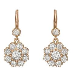 Diamond Gold Cluster Drop Earrings