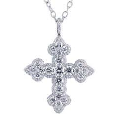 6.39 Carat Diamond Platinum Cross Pendant Necklace