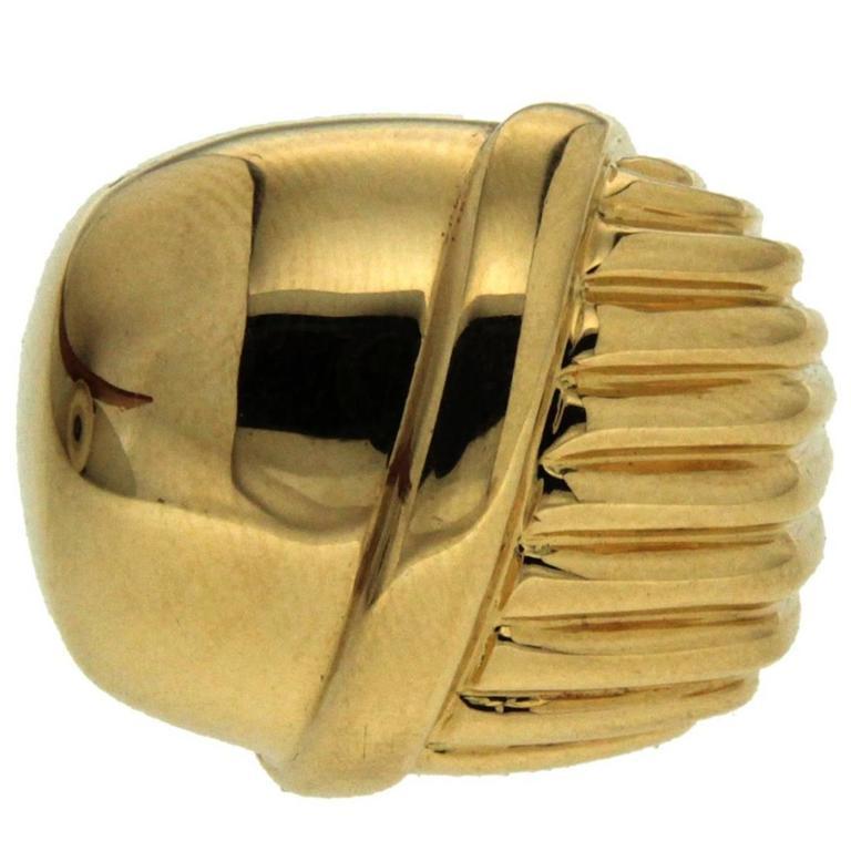 Valentin Magro Half Woven Textured High Polish Gold Ring