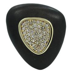 Roberto Coin Silver Capri Plus Ebony Wood and Diamond Ring