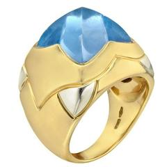 Bulgari Piramide Blue Topaz Cocktail Ring