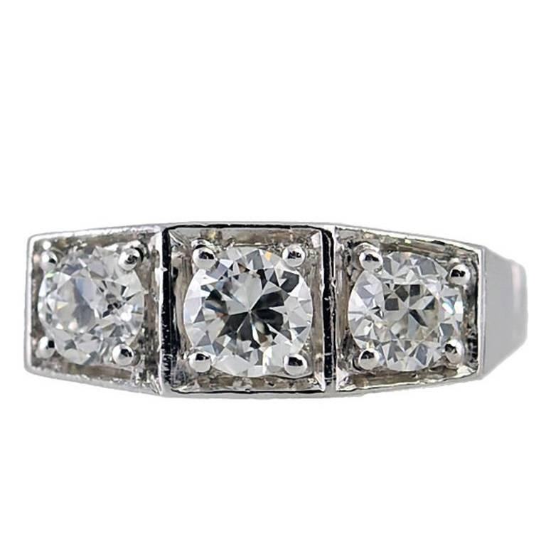 Art Deco Three-Stone Old European Cut Diamond and Platinum Ring