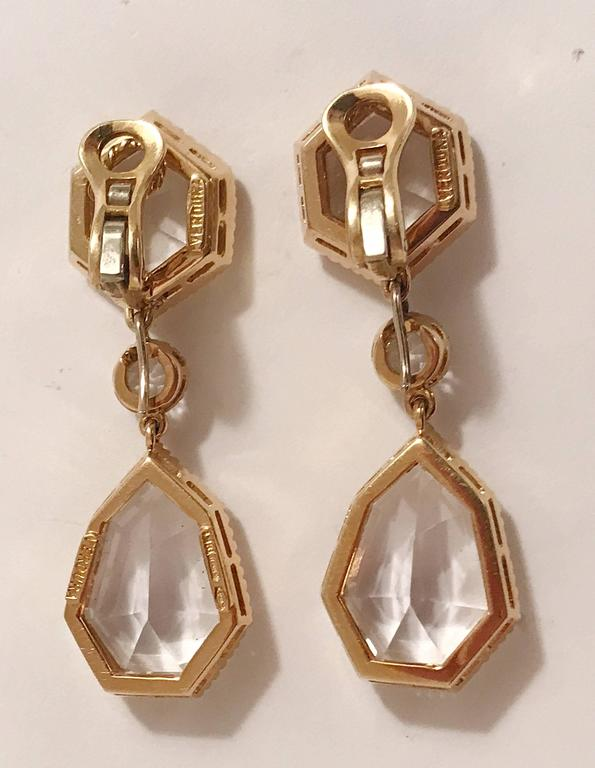 Verdura Byzantine white topaz yellow gold Pendant Clip on Earrings In Excellent Condition For Sale In New York, NY