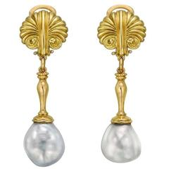Baroque Pearl Yellow Gold Pendant Earrings