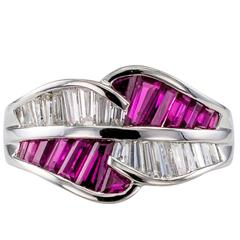 Baguette Ruby Diamond Platinum Bypass Band Ring