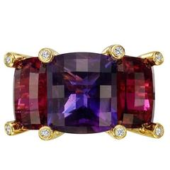 Valentin Magro Amethyst Rubellite Diamond Gold Colori Three-Stone Ring