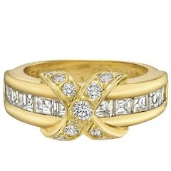 Tiffany & Co. Diamond Yellow Gold X Band Ring