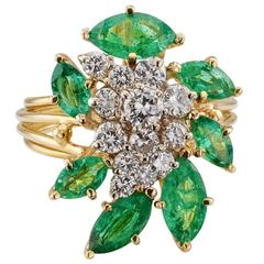 1970s Emerald Diamond Gold Cocktail Ring