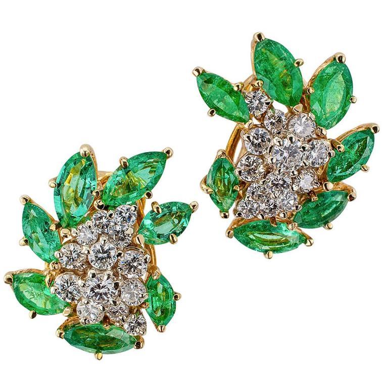 1970s Emerald Diamond Gold Ear Clips