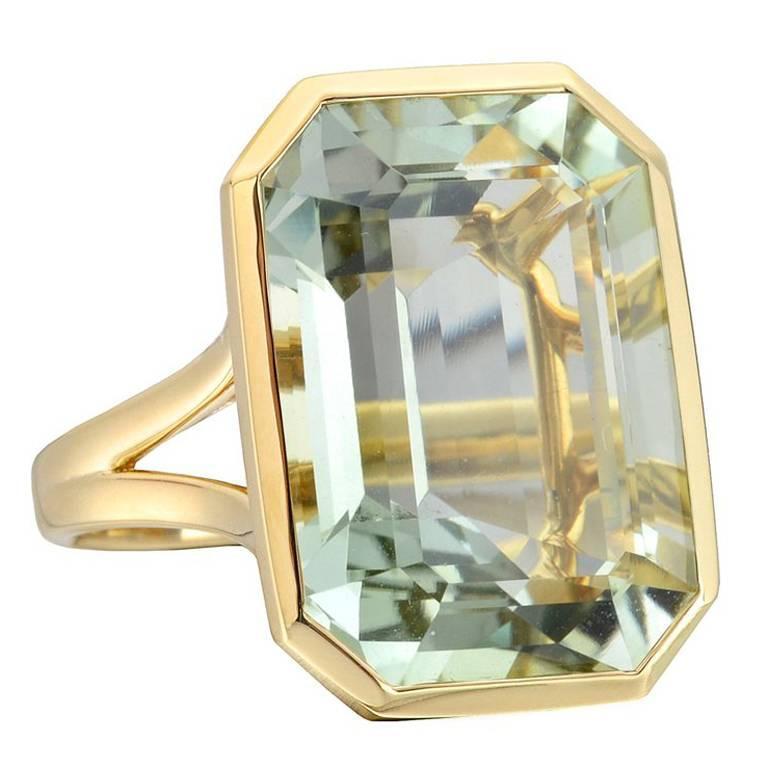 Goshwara Large Emerald-Cut Prasiolite Cocktail Ring