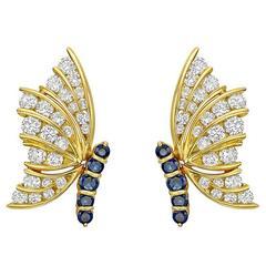 Sapphire Diamond Gold Butterfly Earclips