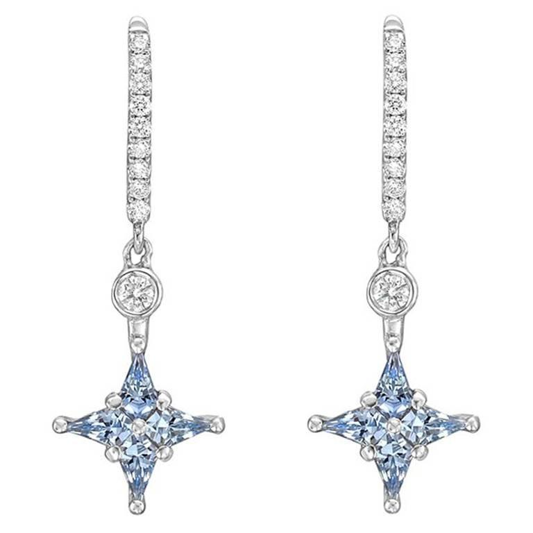 Blue Shire Diamond Star Drop Earrings For