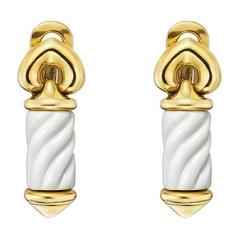 Bulgari Gold White Ceramic Chandra Drop Earrings