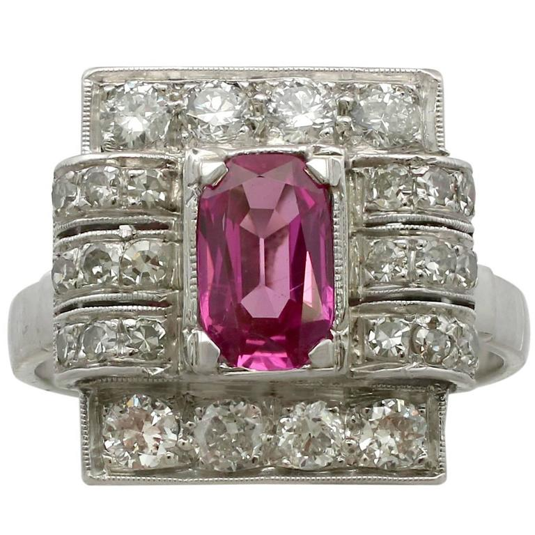 1950s 1.45 Carat Pink Sapphire Diamond White Gold and Platinum Cocktail Ring