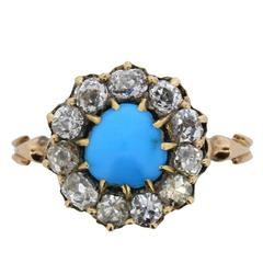 Victorian Cabochon Turquoise and Old Cut Diamond Halo Ring, circa 1880s