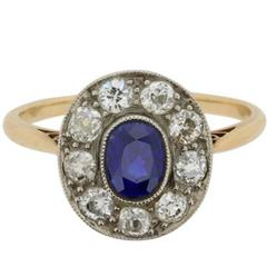 Edwardian Sapphire and Diamond Cluster Ring, circa 1910s