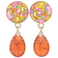 Margot McKinney 60.34 Carat Mandarin Garnet Cabochon Drop Gemstone Button Ears