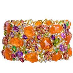 Margot McKinney Exquisite Mandarin Garnet Multiple Precious Gemstone Bracelet