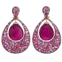 Margot McKinney 65.62 Carat Rubellite Diamond Tourmaline Pink Sapphire Earrings