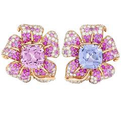 Margot McKinney Stunning 10.19 Carat Spinel Pink Purple Sapphire Flower Earrings
