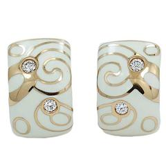 Roberto Coin Enamel Diamonds Rose Gold Earrings