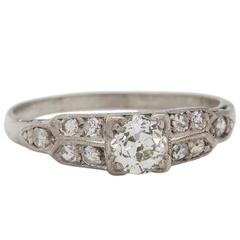 0.35 Carat Diamond Platinum Engagement Ring, circa 1930s