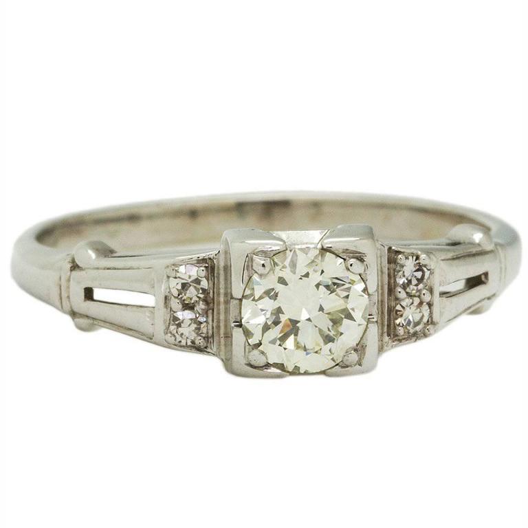 0.35 Carat Old European Cut Diamond White Gold Engagement Ring, circa 1930s