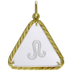 Rock Crystal and Gold LEO Pendant