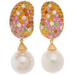 Margot McKinney Myriad Pastel Gemstone South Sea Pearl Drop Jelly Bean Earrings