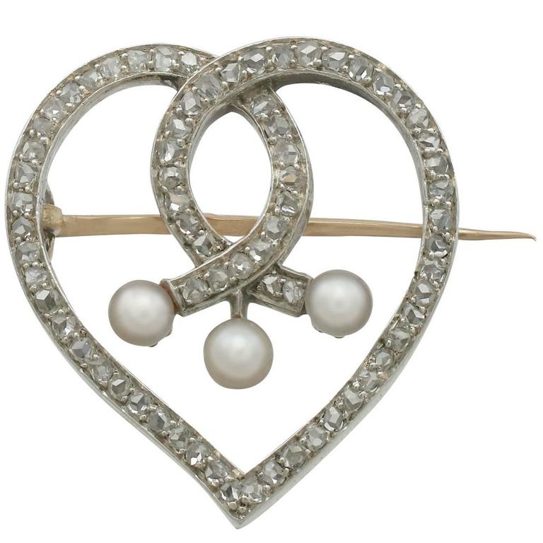 Antique 1890s Diamond and Seed Pearl Yellow Gold 'Heart' Brooch