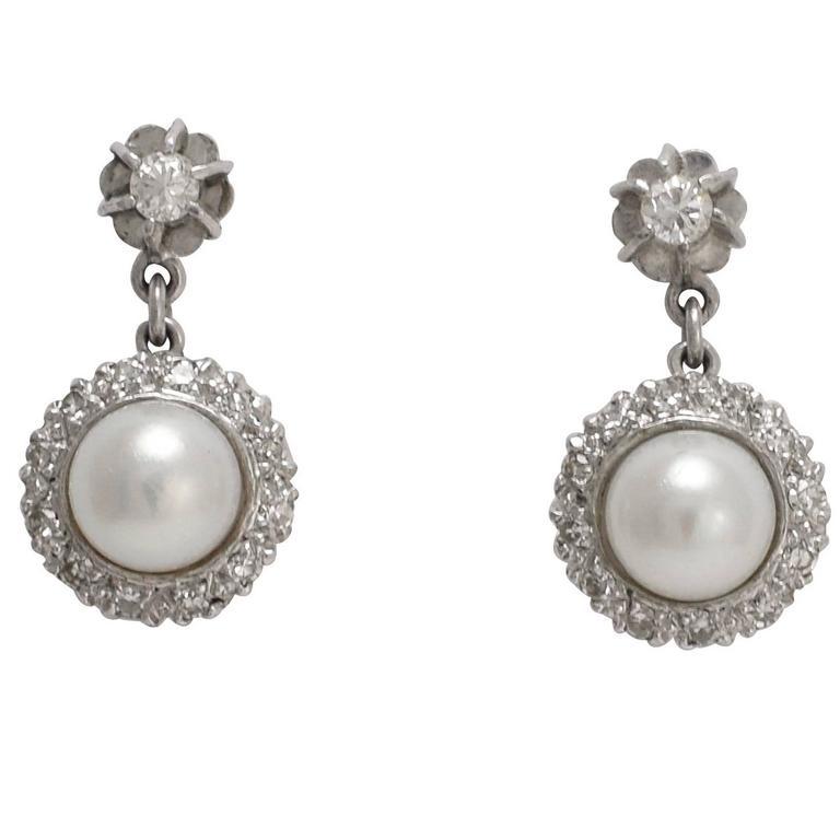 Art Deco Pearl and Diamond Cluster Stud Earrings