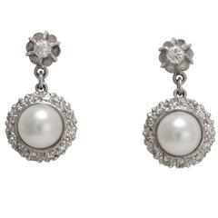 Art Deco Pearl and Diamond Cluster Stud Earrings