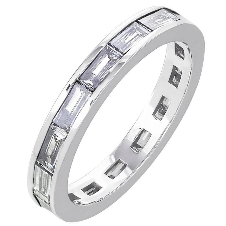 White Gold Baguette Diamond Full Eternity Channel Set Wedding Band Ring 1