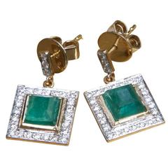 Jade Jagger Emerald Diamond Yellow Gold Earrings