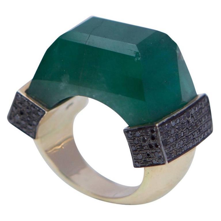 Jade Jagger Neverending Emerald Black Diamond Pave Gold Ring