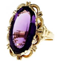 Large Oval Amethyst Yellow Gold Cocktail Ring