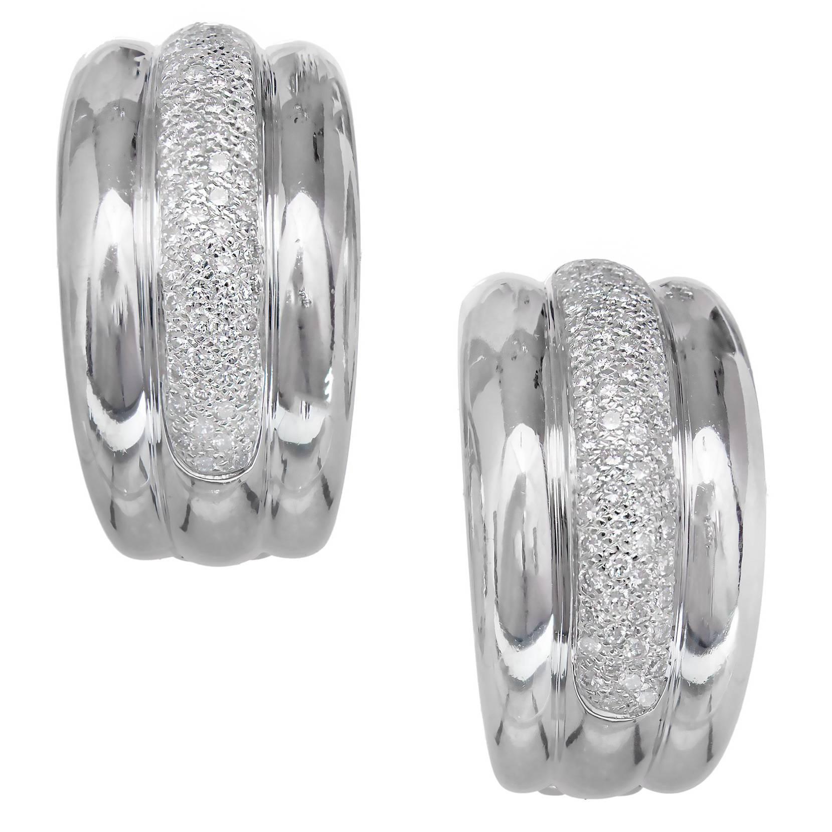 Diamond Pavé White Gold Hoop Clip Post Earrings