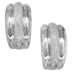 Diamond Pavé White Gold Hoop Clip Post Earrings