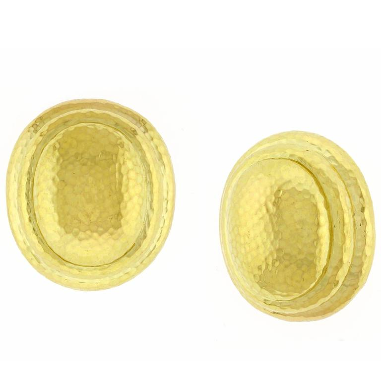 David Webb Large Gold Oval Hammered Earrings