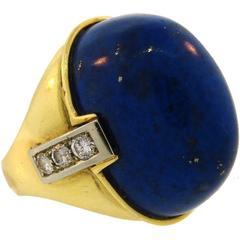 1970s Cartier Lapis Lazuli Diamond Yellow Gold Ring