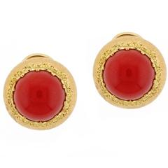 Buccellati Ox Blood Coral Gold Earrings