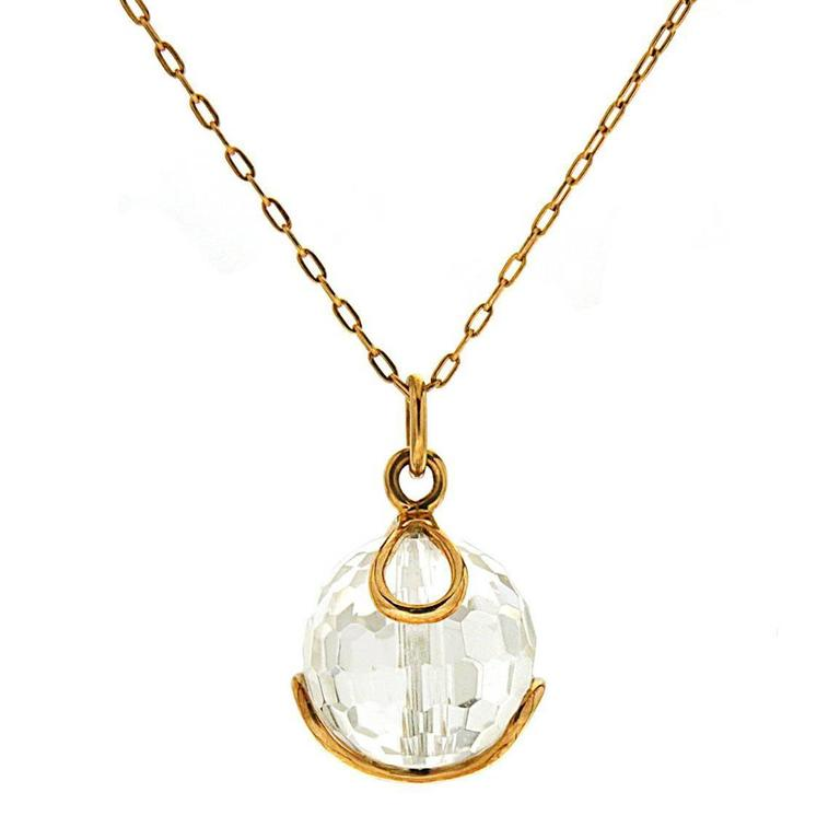 Valentin Magro Carina Faceted Crystal Yellow Gold Pendant Necklace