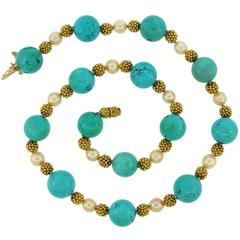 1970s Van Cleef & Arpels Turquoise Pearl Yellow Gold Bead Necklace