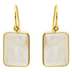 White Emerald Cut Moonstone Yellow Gold Earrings