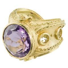 Alessandro Dari Gioielli Amethyst Gold Gothic Ring