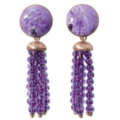 Roman Style Sugelite Amethyst Red 18Kt Gold Stud and Dangle Drop Earrings