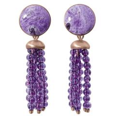 Roman Style Sugelite Amethyst Red 18Kt Gold Dangle Drop Earrings